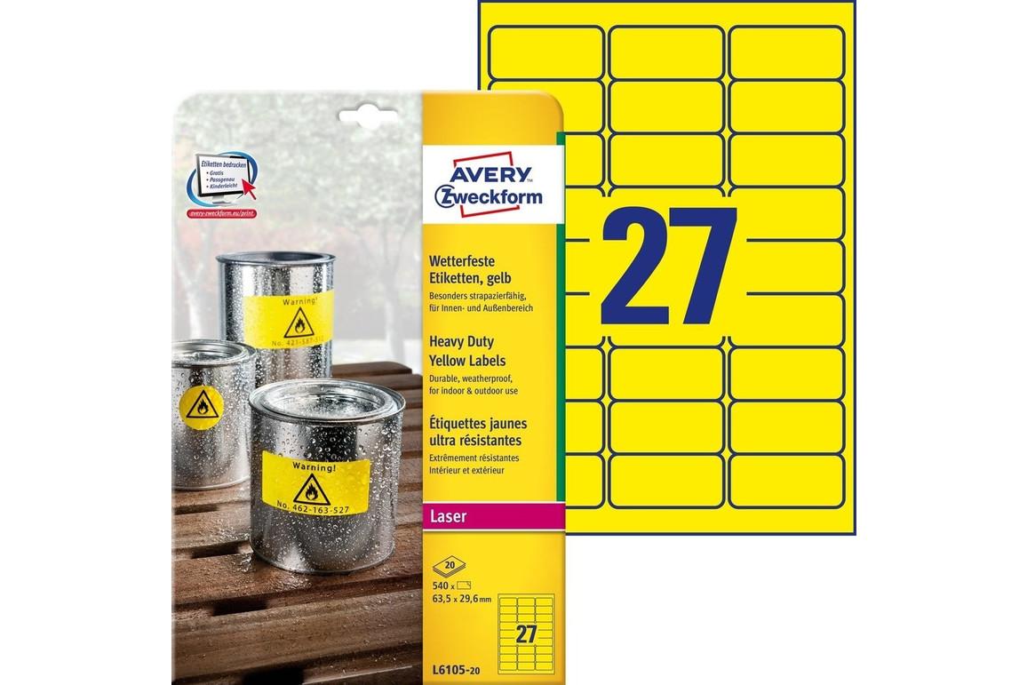 Etiketten Laser+Kopier+Folieneti gelb, Art.-Nr. L6105-20 - Paterno Shop