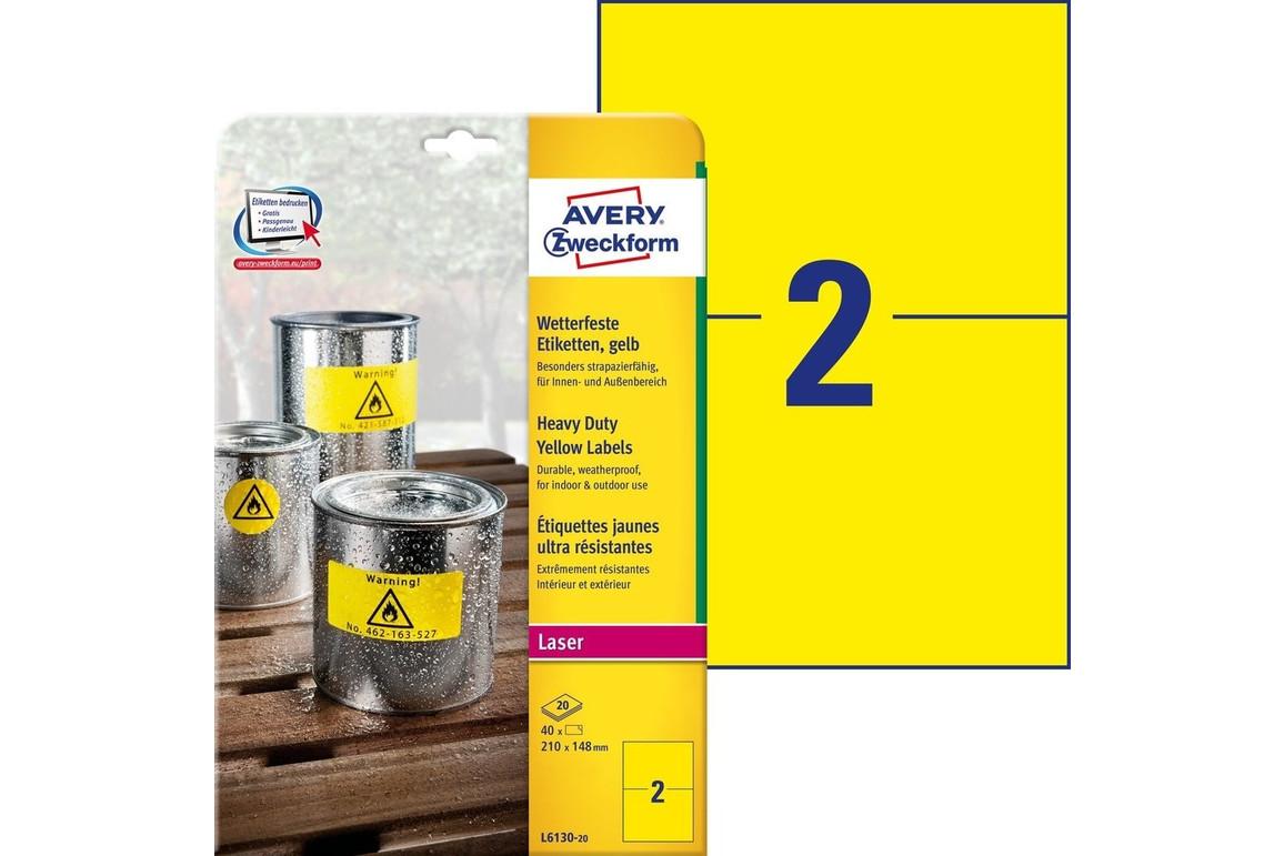 Etiketten ZWF 210x148mm gelb wetterfest, Art.-Nr. L6130-20 - Paterno Shop