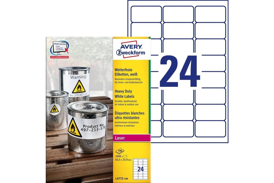 Etiketten ZWF Wetterfest 63,5 x 33,9 mm, Art.-Nr. L4773-100 - Paterno Shop