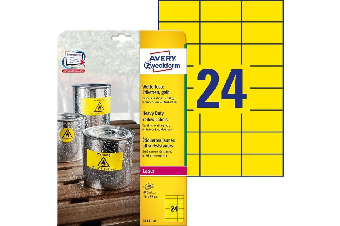 Wetterfeste Etiketten 70x37mm gelb, Art.-Nr. L6131-20 - Paterno Shop