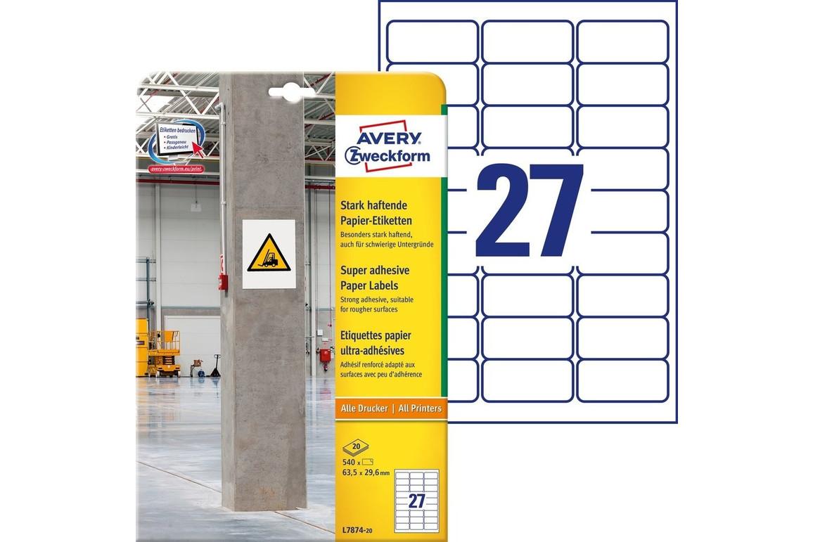 Etiketten ZWF 63,5x29,6mm, stark haftend, Art.-Nr. L7874-20 - Paterno Shop
