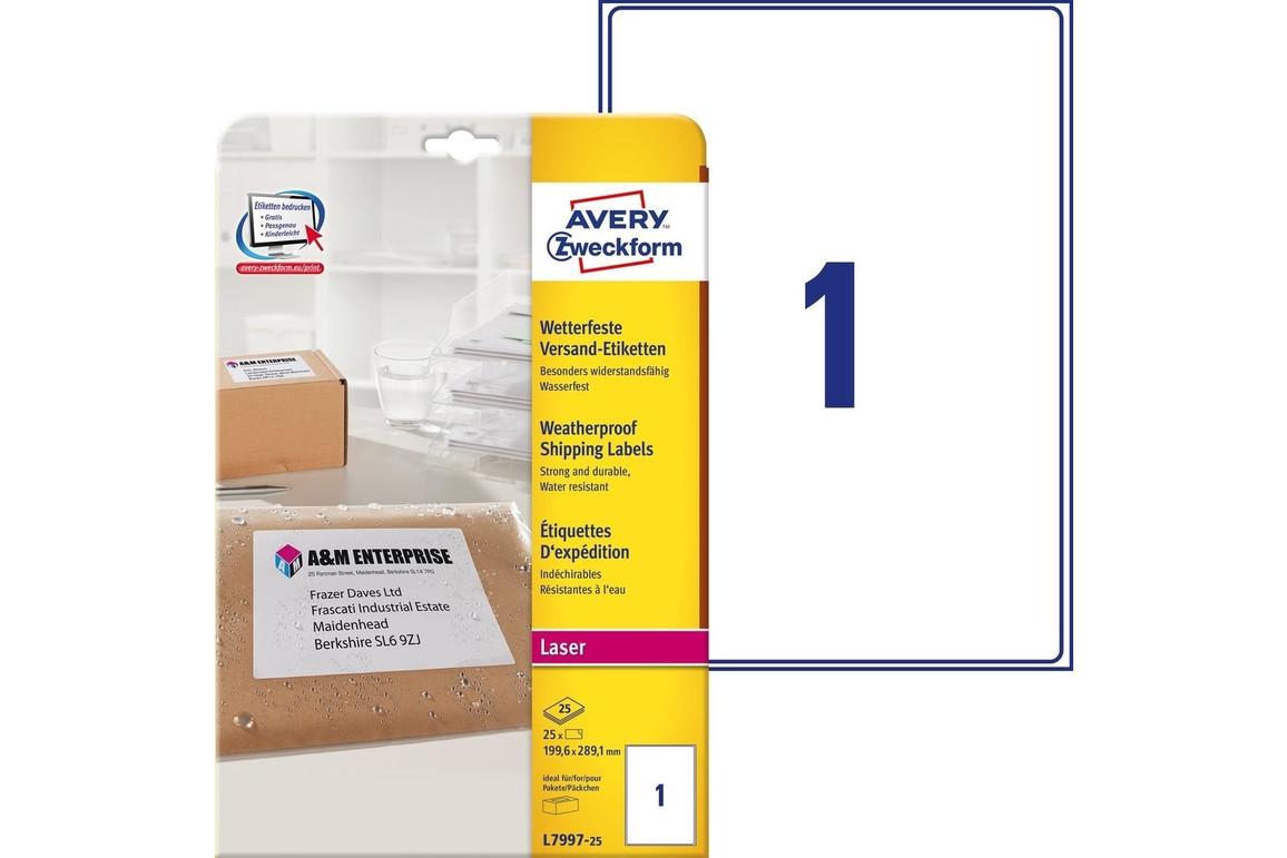 Versand-Etiketten weiß 199,6 x 289,1 mm, Art.-Nr. L7997-25 - Paterno Shop