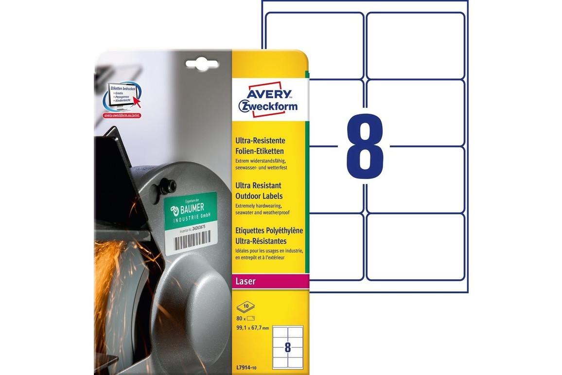 Folienetiketten ZWF Ultra-Resist 99,1x67,7mm, weiß, Art.-Nr. L7914-10 - Paterno Shop