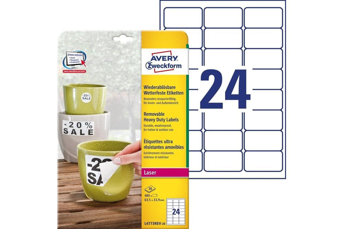 Wetterfeste-Etiketten ZWF ablösb. 63,5x33,9mm, Art.-Nr. L4773REV-20 - Paterno Shop