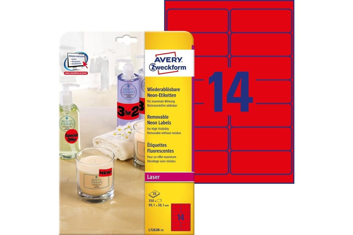 Etikett Neon 99,1x38,1mm rot, Art.-Nr. L7263R-25 - Paterno Shop