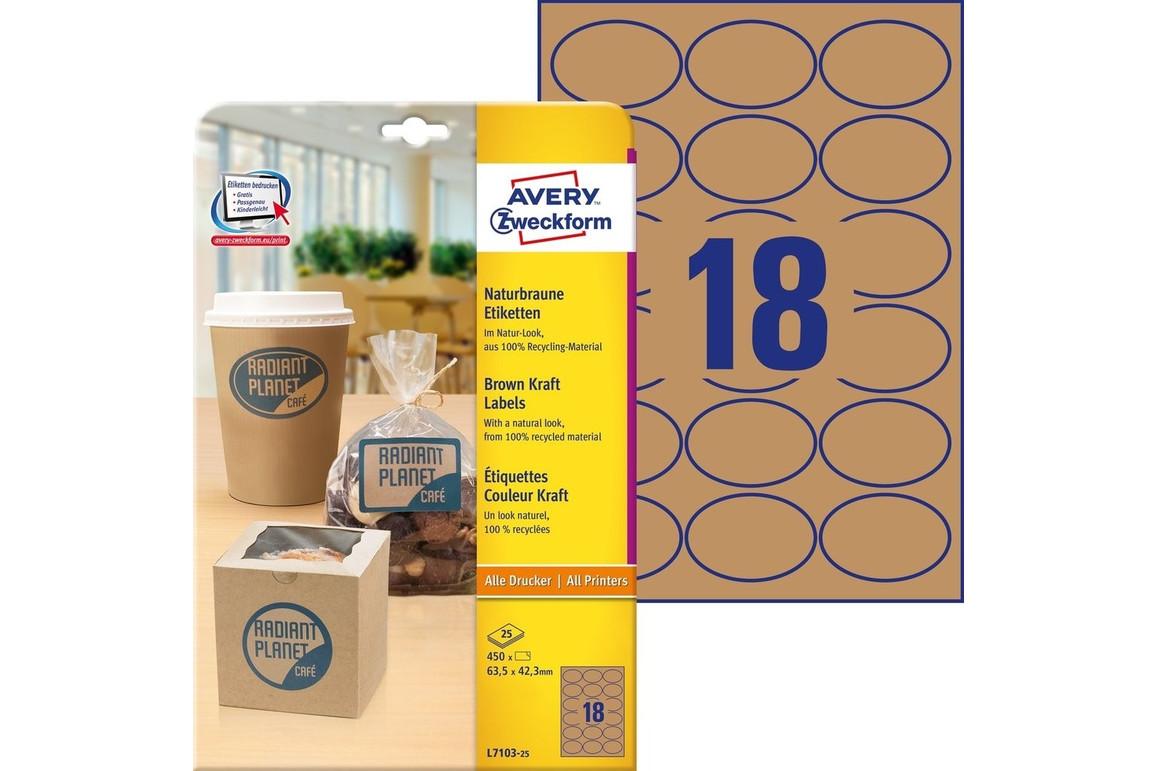 Etiketten ZWF 63,5x42,3mm naturbraun, Art.-Nr. L7103-25 - Paterno Shop