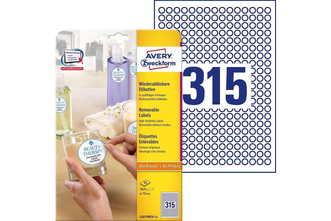 Etiketten Universal weiss DM10mm rund, Art.-Nr. L6019REV-25 - Paterno Shop