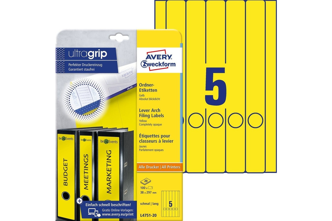 Etiketten A4 Ordnerrücken 38 x 297 mm gelb, Art.-Nr. L474-20-GE - Paterno Shop