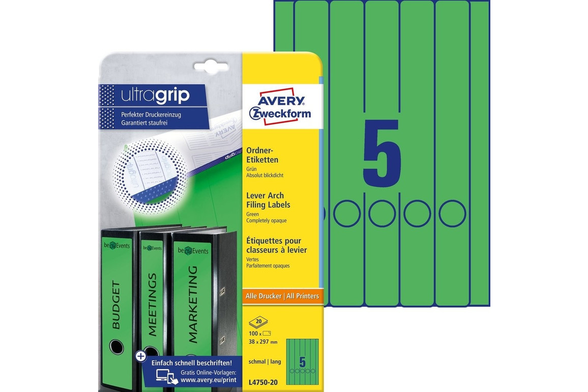 Etiketten A4 Ordnerrücken 38 x 297 mm grün, Art.-Nr. L474-20-GN - Paterno Shop