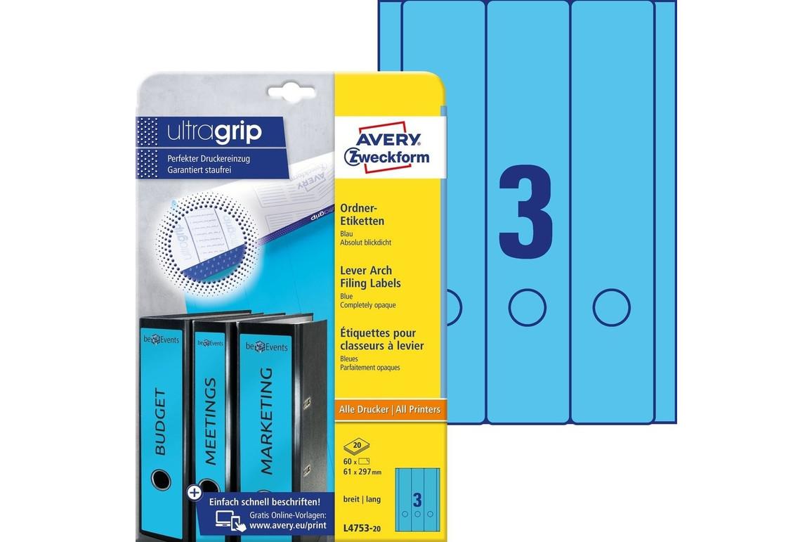 Ordneretiketten ZWF 297 x 61 mm blau, Art.-Nr. L4753-20 - Paterno Shop