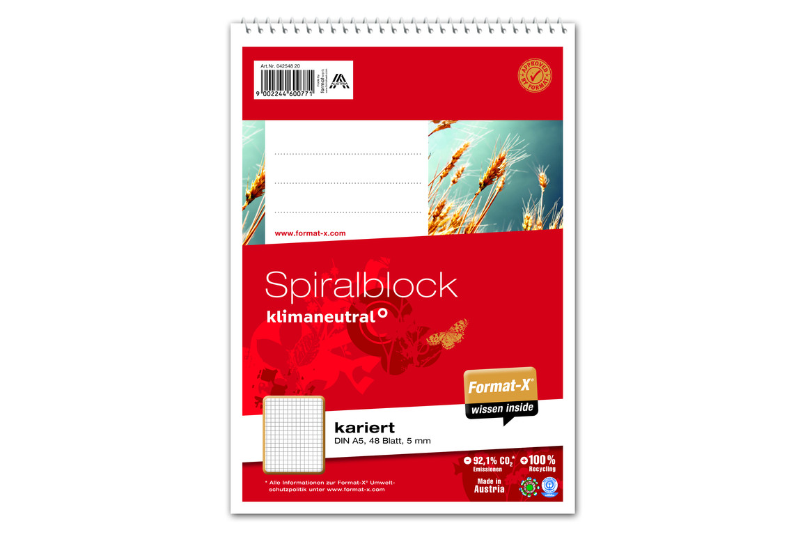 Spiralblock Format X A5 48 Bl. kar., Art.-Nr. 042548-20 - Paterno Shop