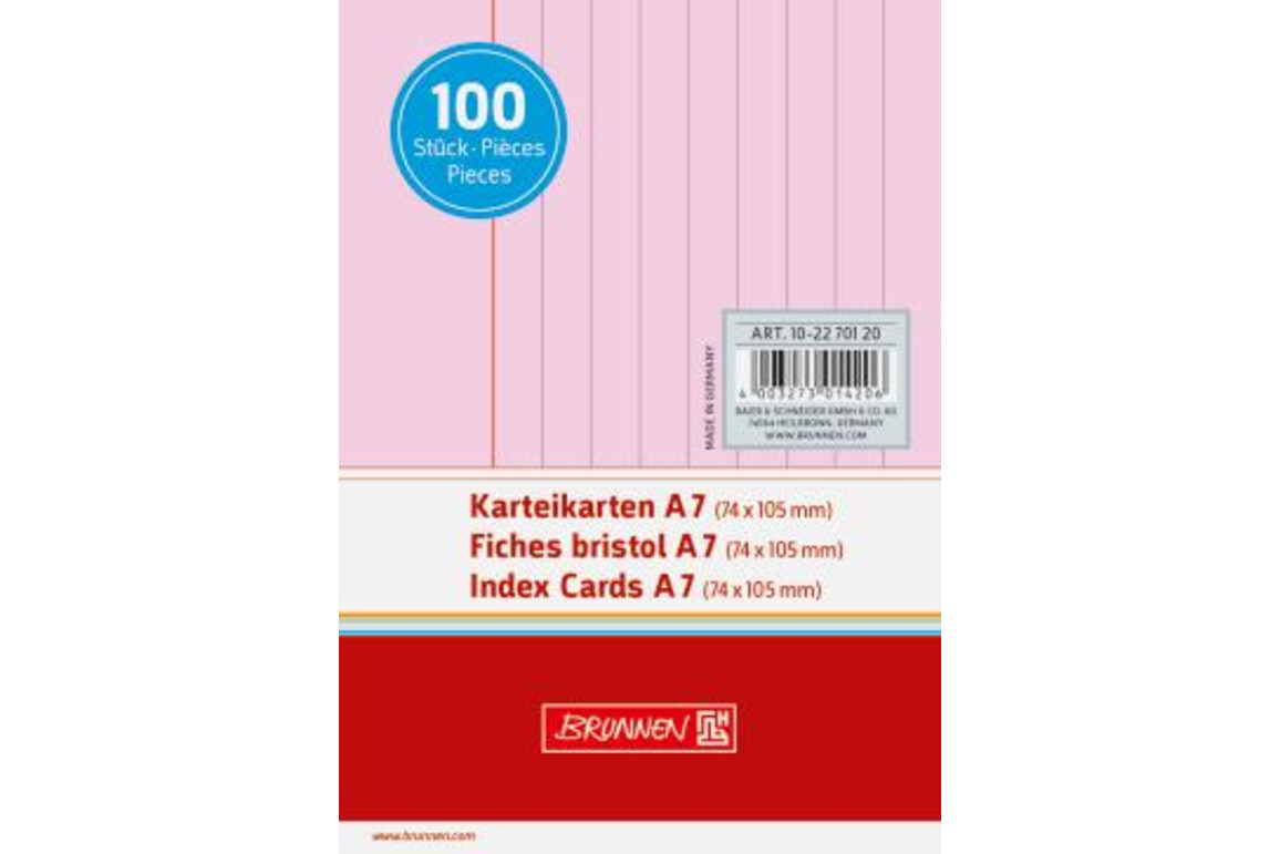 Karteikarten Brunnen A7 lin. rosa, Art.-Nr. 10-22701-RT - Paterno Shop