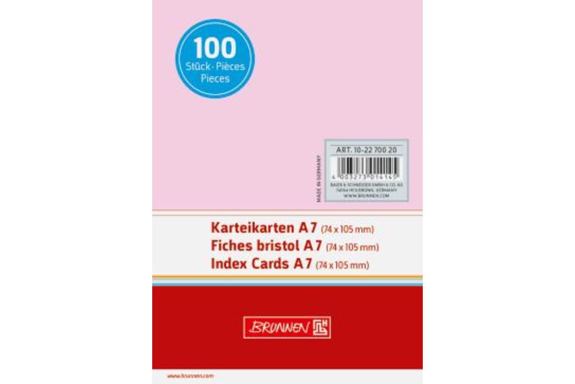 Karteikarten Brunnen A7 glatt rosa, Art.-Nr. 10-22700-RT - Paterno Shop