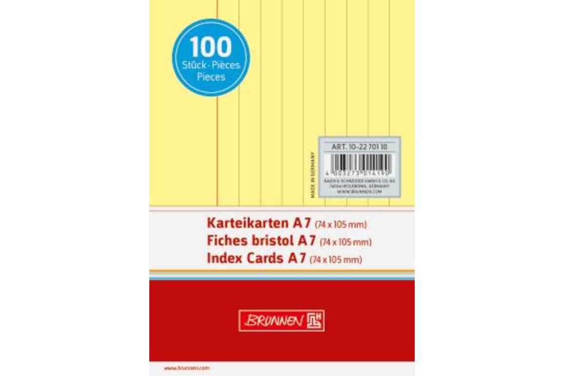 Karteikarten Brunnen A7 lin. gelb, Art.-Nr. 10-22701-GE - Paterno Shop