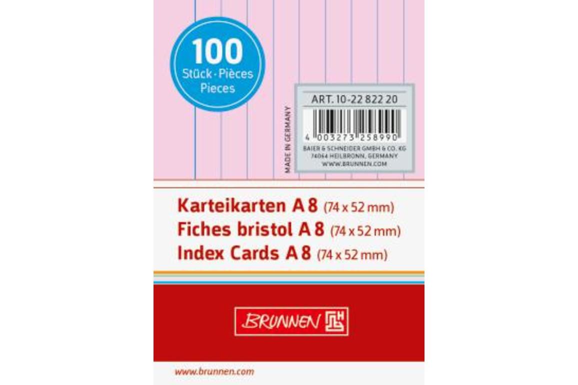 Karteikarten Brunnen A8 lin. rosa, Art.-Nr. 10-22822-RT - Paterno Shop