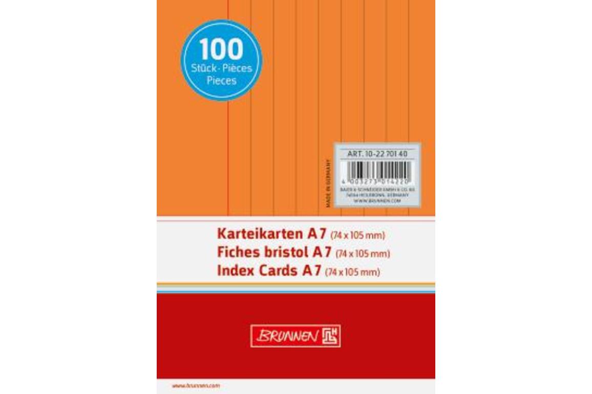 Karteikarten Brunnen A7 lin. orange, Art.-Nr. 10-22701-OR - Paterno Shop
