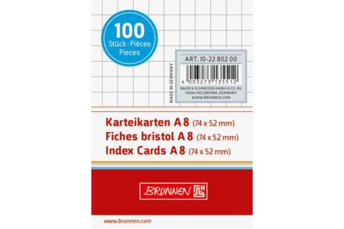 Karteikarten Brunnen A8 kar. weiss, Art.-Nr. 10-22802-WS - Paterno Shop