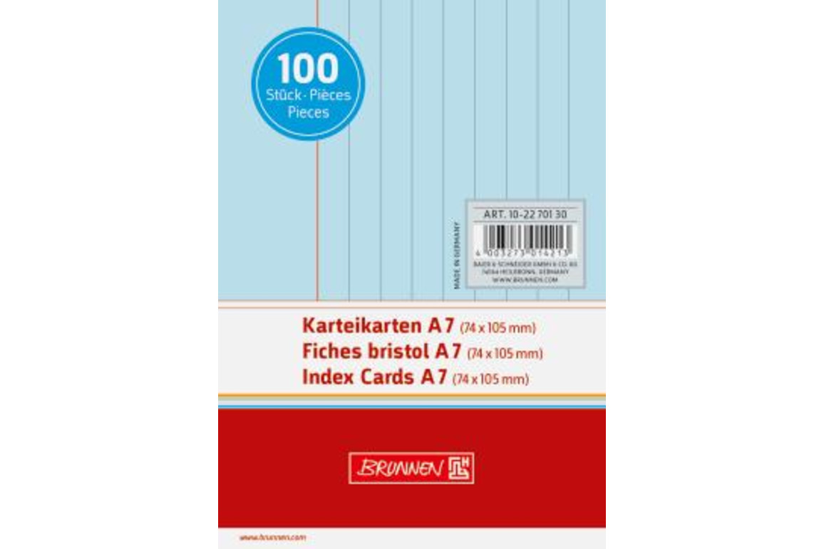 Karteikarten Brunnen A7 lin. blau, Art.-Nr. 10-22701-BL - Paterno Shop